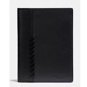 Coach Men's Leather Passport Case Wallet Baseball